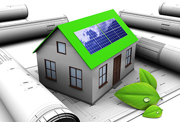 3d illustration of house design with solar panel